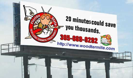 Display banner for wood termites
