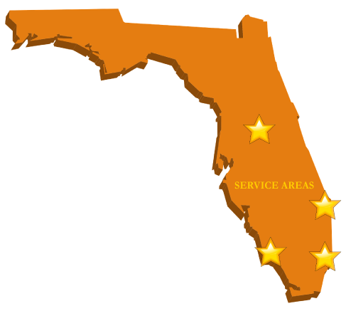 graphic image of map of florida showing service areas of florida state tentless termite treatment