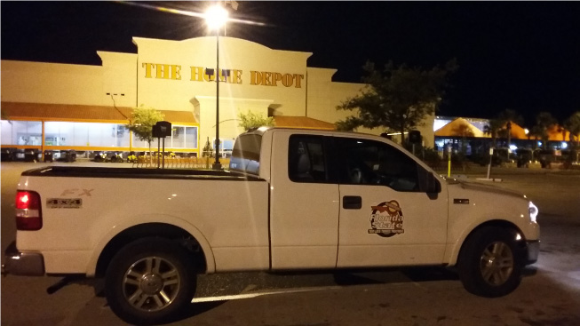 No Tent Termite Treatment Service Truck at Home Depot